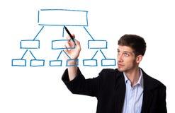 Diagramma del disegno dell'uomo d'affari in whiteboard Fotografie Stock