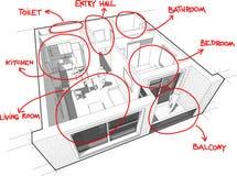 Diagramma dell'appartamento con le note disegnate a mano Fotografia Stock