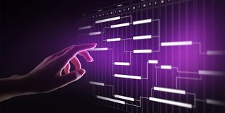 Diagramma della gestione di progetti, gestione di tempo, affare e concetto di tecnologia sullo schermo virtuale fotografie stock