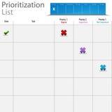 Diagramma della lista di priorità Immagine Stock