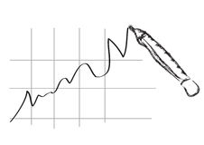 Diagramma di affari - arte della matita Fotografia Stock Libera da Diritti