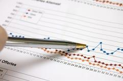 Diagramma di affari con penn fotografia stock libera da diritti