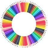 Diagramma di colore del cerchio fatto delle matite di colore fotografia stock
