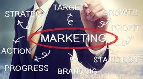 Diagramma di concetto di vendita del disegno dell'uomo d'affari immagini stock