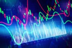 Diagramma di finanza del mercato azionario, fondo di affari Fotografie Stock