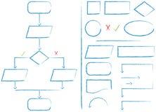 Diagramma di flusso ed elementi Fotografia Stock
