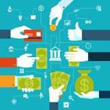 Diagramma di flusso finanziario di Infographic per trasferimento di denaro Fotografia Stock Libera da Diritti
