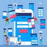Diagramma di flusso di UX UI Desig piano di concetto mobile di applicazione dei modelli illustrazione di stock