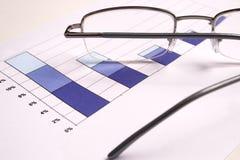 Diagramma di investimento con i vetri Immagini Stock Libere da Diritti