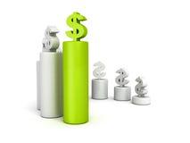 Diagramma di istogramma di valuta del dollaro con la cima verde illustrazione di stock