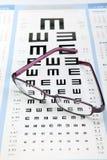 Diagramma di prova dell'occhio con gli occhiali del metallo Fotografia Stock Libera da Diritti