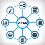 Diagramma di rete dell'ufficio Fotografie Stock