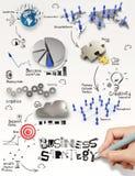 Diagramma di strategia aziendale del disegno della mano Fotografia Stock Libera da Diritti