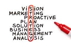 Diagramma di strategia con l'indicatore rosso Fotografia Stock