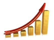 Grafico dorato con il puntatore rosso fotografie stock