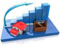Diagramma e casa blu illustrazione vettoriale