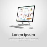 Diagramma finanziario Infographic del grafico del monitor da tavolino di Logo Modern Computer Workstation Icon Fotografie Stock
