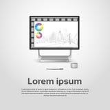 Diagramma finanziario Infographic del grafico del monitor da tavolino di Logo Modern Computer Workstation Icon Fotografia Stock
