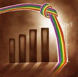 Diagramma grafico stilizzato con un Rainbow annodato Fotografie Stock