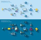 Diagramma piano di stile, Infographic ed icona di UI Fotografia Stock