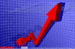 Diagramma rosso della freccia Fotografia Stock Libera da Diritti