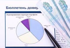Diagramma, soldi, penna Fotografie Stock