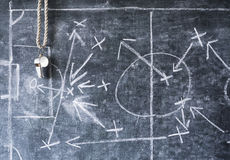 Diagramma tattico di calcio o di calcio, fischio dell'allenatore Immagini Stock Libere da Diritti