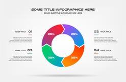 Diagramma a torta del infographics di percentuale Elemento del grafico, diagramma con 4 opzioni - parti, processi, cronologia Vet illustrazione di stock