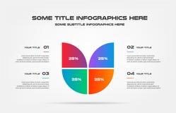 Diagramma a torta del infographics di percentuale Elemento del grafico, diagramma con 4 opzioni - parti, processi, cronologia Vet royalty illustrazione gratis