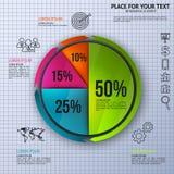 Diagramma a torta - statistiche d'impresa con le icone Immagini Stock