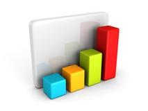 Diagramma variopinto del grafico dell'istogramma di affari su bianco Fotografia Stock
