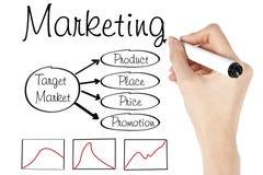 diagrammarknadsföringsstrategi Arkivbild