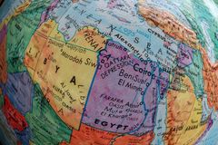 Old Print Map, Libya, Egypt, fish eye stock image
