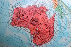 Old Print Map,terrestrial globe, Australia royalty free stock image