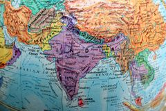 Old Print Map,terrestrial globe, Asia stock image