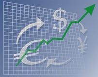 Diagrammbargeld oben Stockfotografie