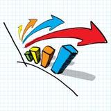 Diagrammdiagramm und Pfeilhand gezeichnet Lizenzfreies Stockfoto