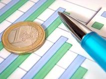 Diagramme à barres avec le crayon lecteur et l'euro pièce de monnaie Photographie stock libre de droits