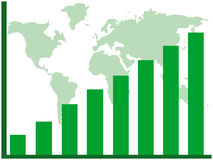Diagramme à barres et carte du monde Photos stock
