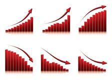 Diagramme 3d, die Anstieg und Fall zeigen Lizenzfreie Stockfotografie
