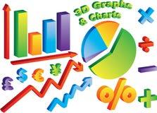 Diagramme 3D und Diagramme Lizenzfreie Stockfotografie
