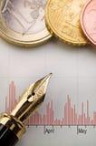 Diagramme, argent et stylo-plume Images stock