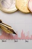 Diagramme, argent et stylo-plume Photos stock