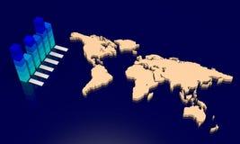 Diagramme avec la carte du monde Photos stock