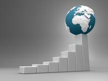Diagramme avec la terre - l'Europe et l'Afrique Image stock