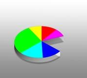 Diagramme circulaire de cinq couleurs (tableaux) Photo stock