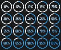 Diagramme circulaire de téléchargement avec le pourcentage de l'exécution dans illustration stock