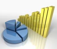 Diagramme circulaire et diagramme à barres [concept d'affaires] Images stock
