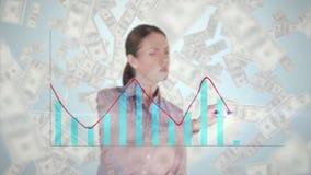 Diagramme combiné de dessin de femme d'affaires sur l'écran en verre avec le déplacement de billets de banque illustration de vecteur