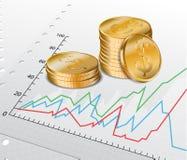 Diagramme commercial avec les pièces de monnaie d'or Photographie stock